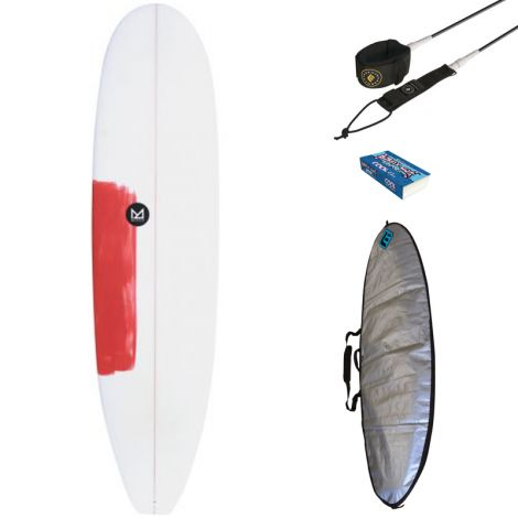 PACK DÉBUTANT SURF MAHALO 7'2 HOANI + HOUSSE + LEASH + WAX