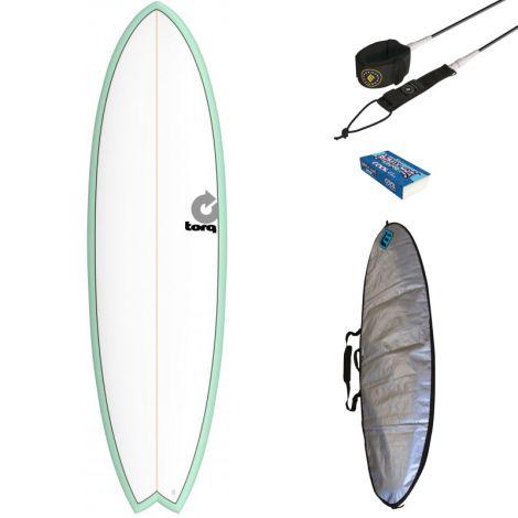 PACK DÉBUTANT SURF TORQ 7'2 MOD FISH + HOUSSE + LEASH + WAX